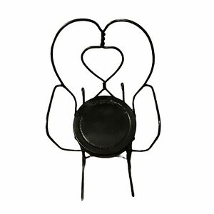 """Vintage Wrought Iron Black Miniature Rocking Chair For Child Or Doll 16"""" Height"""
