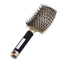 Boar Bristle Curly Hair Brush Curved & Vented & Oversize Design For Women Men US