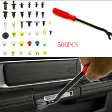 """500x Mixed Car Trim Panel Fasteners Rivets Retainer Clip+ 8"""" Pry Tool  Universal"""