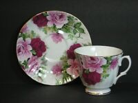 VTG Duchess Bone China Teacup & Saucer Pink Burgundy Roses Bouquet England Mint!