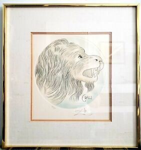 """Original Salvador Dali """"Lion"""" Etching Signed and Numbered 131/300 with COA"""