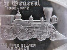 1 TROY -OZ PURE SILVER.999 ART BAR TRAIN, THE GENERAL ENGRAVABLE BACK + GOLD