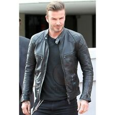 David Beckham Fashionable Biker 100% Real Cow-Hide leather jackets - All sizes