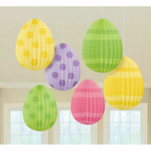 Easter Egg Mini Pastel Pleated Paper Lantern Party Hanging Tree Decorations x 6