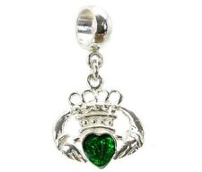 STERLING SILVER GREEN ENAMEL IRISH CLADDAGH CHARM BEAD