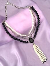DESIGNER Tassel NECKLACE Silver Black Faceted Stone Simulated Pearl NWOT r9E