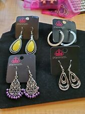 1 with yellow, 1 with purple, new Lot of 4 Paparazzi pierced earrings, silver,