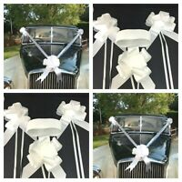 White Wedding Car Kit 3 x 50mm ASSEMBLED Pull Bows + 7 meters White Poly Ribbon