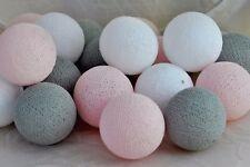 10er Lichterkette Bälle Baumwolle Rosa Grau Weiß Cotton ball lights Fair Trade
