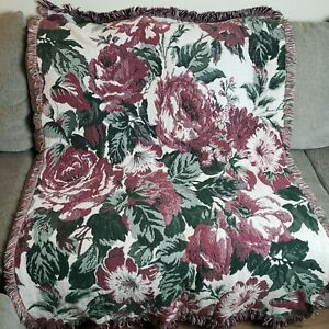 Flowers Floral Woven Tapestry Throw Blanket Fringe Ends Mauve Pink White Green