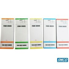 Food Bar Restaurant Order Pads 5 Colours  3 Part Tear Off slip 1 Ply PAD 84 BF84