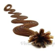 200 U Tip Pre Bonded Fusion Body Wave Wavy Remy Human Hair Extension Light Brown