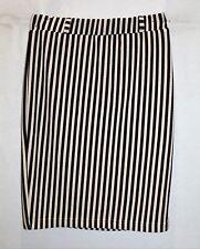 SES Fashion Brand Beige with Black Stripes Stretch Pencil Skirt Sz 8 BNWT #TP52