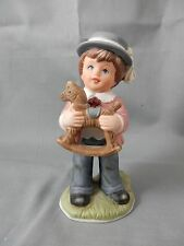 Homco - Home Interiors - Young Boy With His Favorite Rocking Horse Toy - #1419