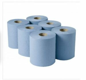 BLUE PAPER TOWEL TISSUE 2PLY 100M 100 METRE ROLL CENTRE FEED CLEANING PERFORATED