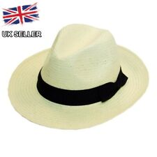 NEW STRAW STYLE FEDORA TRILBY SUN HAT SENT BOXED UK SELLER