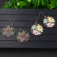 Fashion Elegant Women Colourful Flower Resion Ear Hook Drop Earrings Jewelry