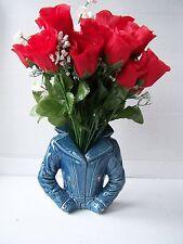 MED ceramic blue denim jacket novelty vase planter dressing table ornament new