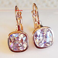Rose Gold Filled Made With Swarovski Crystal Lever Back Square Drop Earring IE97