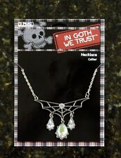 Silver Goth Bat SPIDER WEB NECKLACE Clr Gem Pendant Halloween Costume Accessory