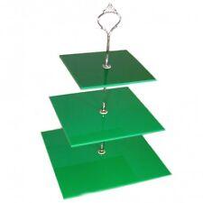 Grand 3 Étages Vert Carré Stand De Cake 20cm, 25cm & 30cm. Hauteur 32cm
