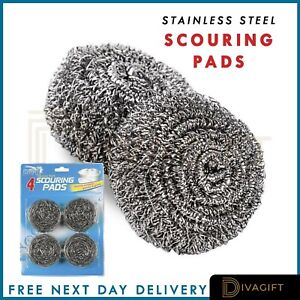 12x Stainless Steel Scourers Kitchen Washing Cleaning Wire Pads Pan Stains UK