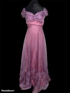 Vtg 80s Pink Prom Party Bridesmaid Ruffle Formal Maxi Dress