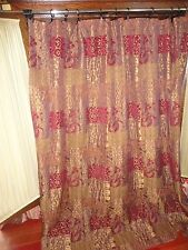 CROSCILL GALLERIA RED SHOWER CURTAIN GOLD UMBER RED TUSCAN OLD WORLD 71 X 75