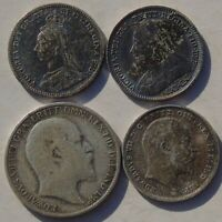 4 Small Silver Coins Victoria Threepence 1892 1895 Edward 3d 1902 Sixpence 1908