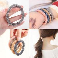 Fashion Women Crystal Rhinestone Beads Elastic Bracelet Bangle Hair Band Jewelry