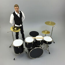 NEW 1/6 Scale Drum Set  Drum Kit Black Musical Instrument Pack