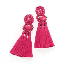 Ladies Fuchsia Hot Pink Tassel Drop Earrings Ladies Fashion Jewellery