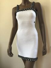Nwot Chanel White Dress Chain Tweed Embellished Europe 34  Us S Xs