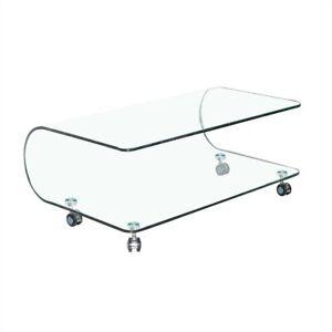 Tavolino tavolo basso vetro cristallo con ruote ovale caffè salotto soggiorno
