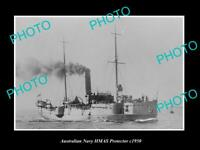 OLD POSTCARD SIZE AUSTRALIAN NAVY PHOTO OF THE HMAS PROTECTOR SHIP c1950
