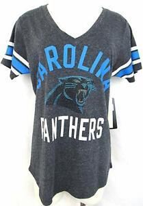 G-III 4her Carolina Panthers Women's Big Game Rhinestone V-Neck T-Shirt