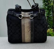 65f94ed716 Coach Hamptons Black Signature C Python Stripe Carryall Tote Bag Purse  Satchel