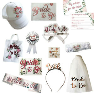 FLORAL ROSE GOLD BRIDE TO BE ACCESSORIES HEN PARTY TEAM SASHES TIARA TRIBE SQUAD