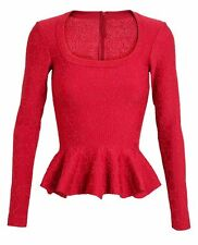 $2890 ALAIA Paris ARABESQUE Red Sparkle Embroidered Peplum Top 38 SOLD OUT
