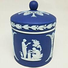 Antique Jasperware Wedgwood Cobalt Blue Lidded Jar Greek Motif White Relief 1890