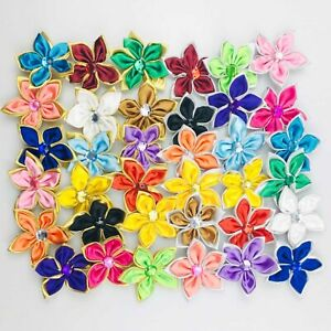 10/25Pcs Satin Ribbon Flower Crystal Bead Appliques DIY Craft/Wedding decoration
