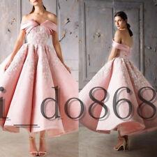 Pink Wedding Dresses Bridal Ball Gowns Off Shoulder Tea Length Flowers DEB Dress