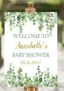 A4 Eucalyptus Floral Baby Shower Poster Sign Birthday Tea Party Gender Reveal