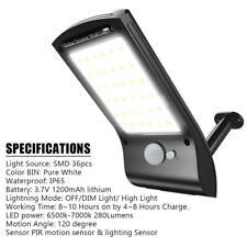 36 LED Waterproof Solar Power Motion Sensor Wall Light Garden Street Yard Lamp