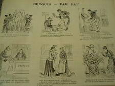 Vignettes 1890  Portugal scier la jambe L'homme colis Caricature
