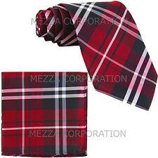 New Men's Vesuvio Napoli plaid checkered Neck Tie Necktie & hankie set party red