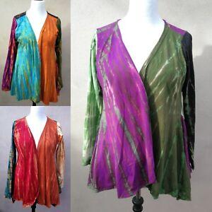 Gringo FAIRTRADE Colourful Tie Dye Cotton Open Top Cardigan Jacket Boho Hippy