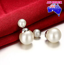 18K Platimun Filled Stud Earrings With 8MM White Pearl And 15MM White Pearl