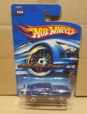 Hot Wheels 1969 dodge charger, blue body 1/64 scale toy model car, mint on card