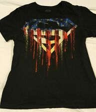 Superman S Logo T-shirt American Flag Dripping Paint Mens Small Black DC Cotton